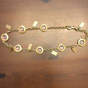 Coach Gold and Pink Gem Necklace